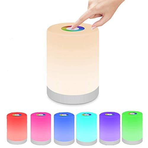lampada multicolor Swonuk Lampada Comodino Camera da Tavolo Controllo Touch Portatile USB Ricaricabile Regolabile RGB Multicolor LED Lampada per Bambini