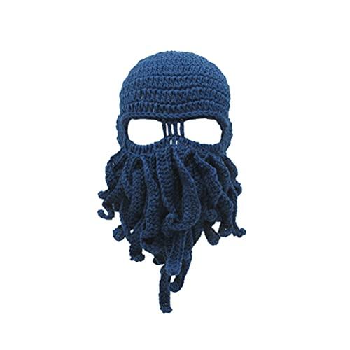 BESPORTBLE Eigenartige handgemachte lustige Octopus Hut Tintenfisch gestrickte Kopfmaske Mützen häkeln Cap Geschenk für Bühnenauftritt (blau, Kopfumfang 58, 5 cm)