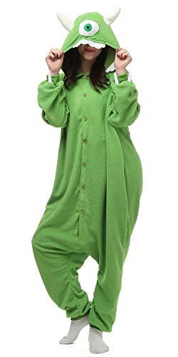 NAITOKE Onesie Pajamas for Adult Cartoon Animal Mike Wazowski Halloween Cosplay Costume