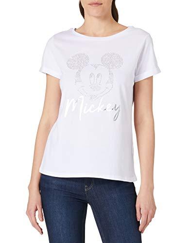 Springfield Camiseta Mickey Tachas, Blanco, S para Mujer