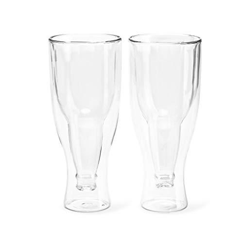 Balvi Bicchiere Birra Gravity Set 2 Bicchieri da 250 ml Doppio Vetro Mantiene la tempearatura Forma di Bottiglia capovolta Vetro