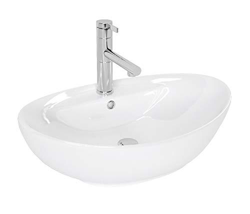 VBChome Waschbecken 59 x 39 Keramik Oval Waschtisch Handwaschbecken AUFSATZWASCHBECKEN WASCHSCHALE GÄSTE WC