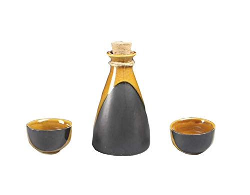PIVFEDQX Exquisito Black Temptation Juego De Sake De Cerámica De 3 Piezas Tazas De Sake De Porcelana Japonesa E