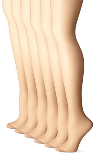 No Nonsense Women's Regular Pantyhose with Reinforced Panty and Toe, Pack of 6,Tan,C, Plus