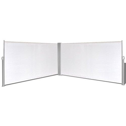 Festnight Ausziehbare Seitenmarkise Markise 160x600cm Standmarkise mit Standpfosten Sichtschutz Sonnenschutz Cremefarbe für Balkon Terrasse