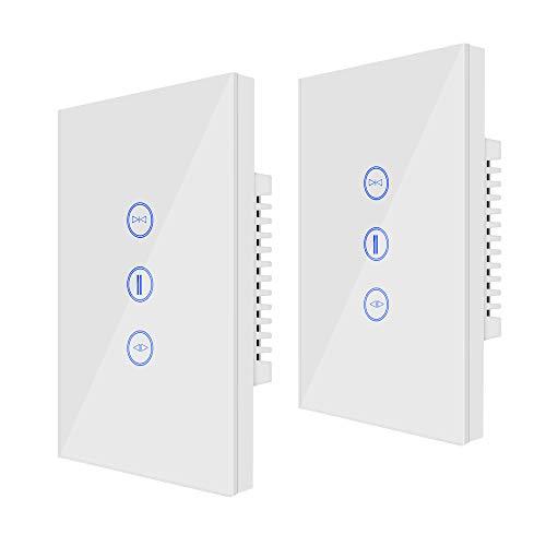 WiFi-Vorhangschalter, Jinvoo Controller-Rollladenschalter, US-Smart-Wifi-Touch-Schalter, Fernbedienung und Sprachsteuerung, Kompatibel mit Amazon Alexa/Google Home/iOS/Android, Weiß (2 Packs)