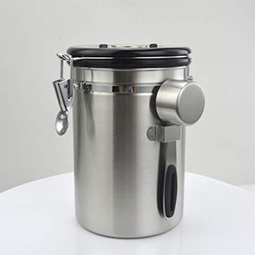 LPOQW Recipiente de café con cuchara medidora para almacenamiento de té, granos de café, té, frutos secos, polvo y alimentos, 1500 ml
