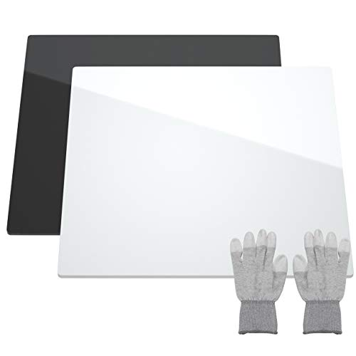 NIUBEE Acrylic Reflective Display Board for Product Photo Background Shooting Tables Props (12x12 Inch, Black + White)