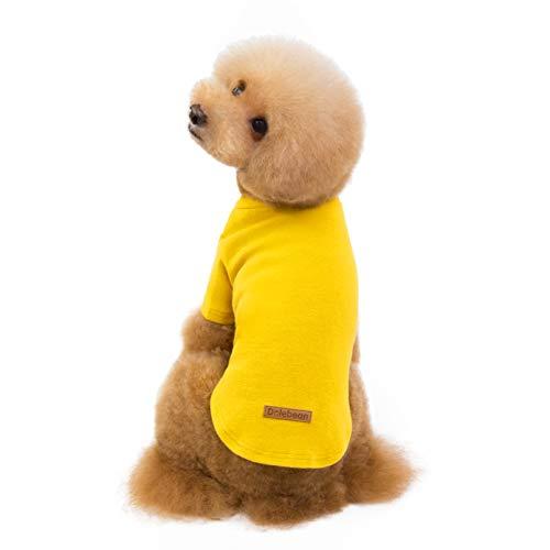 AEKOONA Puppy Hond Streep T-Shirt pyjama Jumpsuit Shirt Gestreept T-Shirt Huisdier Leuke Vest Korte Mouwen Kleding voor Kleine Hond, L, Geel