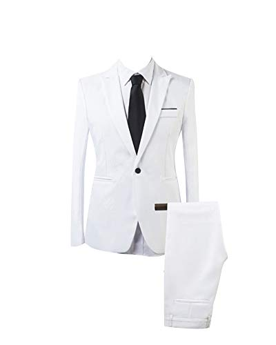 Homme Formel Slim Fit 2 Pièces Elégant Classique d'affaire Costume Blanc S