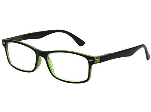 TBOC Gafas de Lectura Presbicia Vista Cansada – Graduadas +2.00 Dioptrías Montura de Pasta Bicolor Negra y Verde de Diseño Moda para Hombre y Mujer Unisex con Lentes Aumento Leer Ver de Cerca