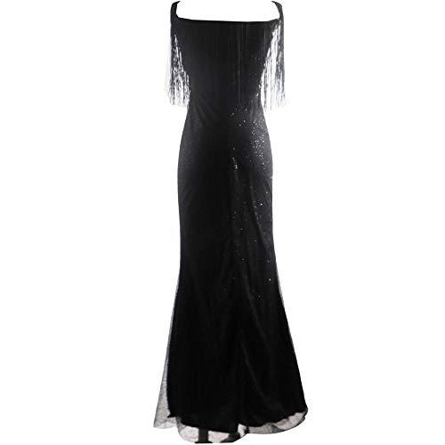 Vestidos De Fiesta Vestir Dress Mujer Niña Vestido Largo De Noche con Lentejuelas para Mujer Vestido con Borlas Y Cuello En V-Black_S