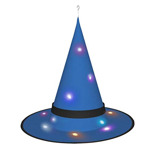 Dihui Navy Blue Halloween Glowing Hat, Outdoor, Garden, Trees, Party Decoration, Outdoor Halloween Decorations, Witch Hat with Lights.
