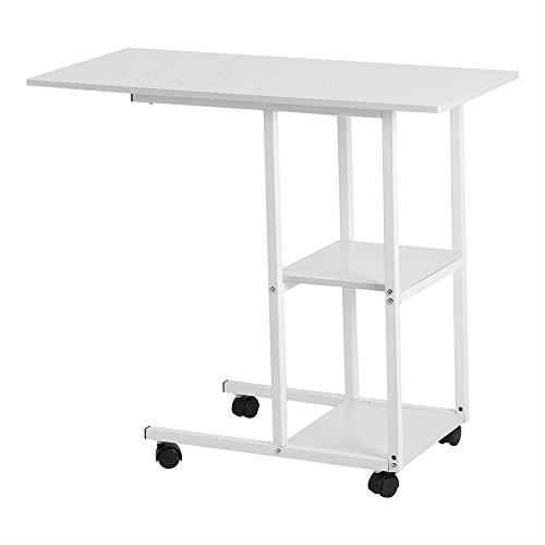 Bett-Schreibtisch mit abnehmbaren Rädern, Höhenverstellbar Bettständer Nachttisch-Konsole, Weiß, Typ 1