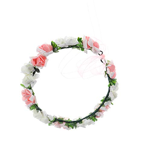 Toyvian Corona di Fiori Corona di Fiori Fascia per Capelli Ghirlanda Rosa Copricapo Anello per Capelli Accessori per Capelli Fotografia Prop per Bambini Ragazza