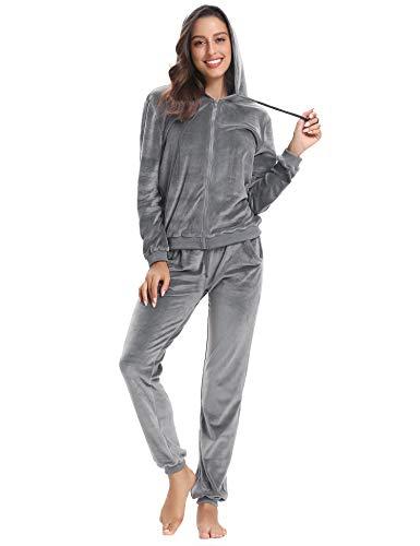 Abollria Damen Hausanzug Velours Trainingsanzug mit Samtoptik Kapuzejacke mit Reißverschluss Hose, Grau, Gr.- L