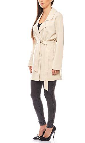 RICK CARDONA leichte Jacke eleganter Damen Longblazer Business-Blazer Sakko Beige, Größenauswahl:40
