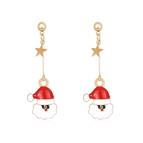MIKI-Z 1 par de Pendientes de Navidad Copo de Nieve Santa Claus antílope Colgante de Oreja de árbol de Navidad