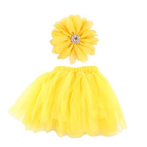 YO-HAPPY Falda de bebé, Bebé recién Nacido Foto Prop Falda de tutú Conjunto de Diadema con Volantes Bowknot Vestido de Tul Diadema de Flores Trajes de Fiesta Trajes de 0 a 9 Meses