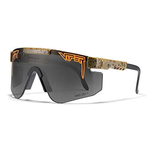 LDFANG Gafas de Sol, Gafas de Sol polarizadas UV400 a Prueba de Viento para Ciclismo al Aire Libre, Negro