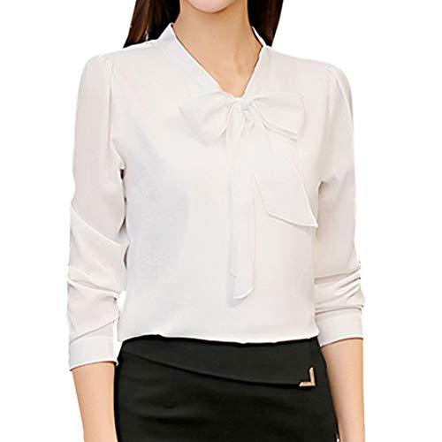 T Shirt Femmes Professionnel Bureau Manches Longues Noeud Papillon Bouton Chemisier Chemise Mousseline Tops Blouse LONUPAZZ