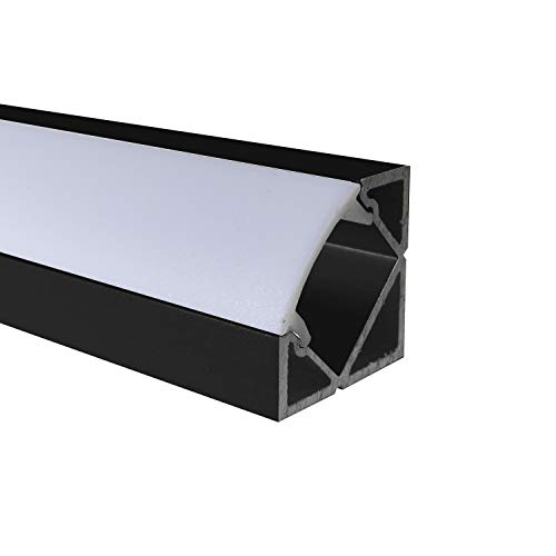 OPAL - 200 cm LED Aluminium Profil ECKE-45 in Schwarz + 200 cm weiß milchige Abdeckung für LED-Streifen Alu von Alumino®