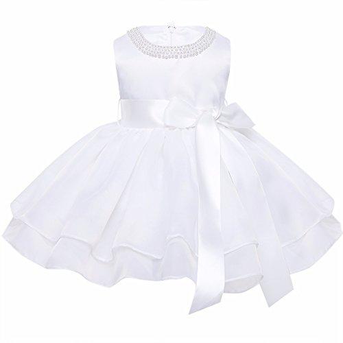 YiZYiF Baby Mädchen Kleid Taufkleid Festlich Kleid Hochzeit Partykleider Kleinkind Kinder Kleidung Organza Festzug für 3 Monate - 3 Jahre Elfenbein 92-98