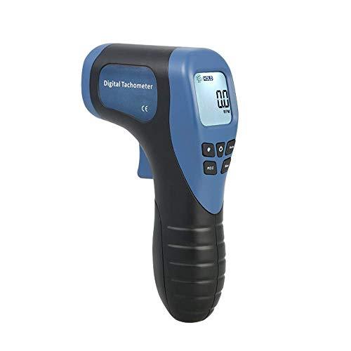 Tachometer Drehzahlmesser, Handheld Digital Laser Tachometer Berührungsloses Drehzahlmessgerät Motordrehzahlmesser Pistolenmessbereich: 2,5-99999 U / min mit reflektierendem Klebeband-Blau