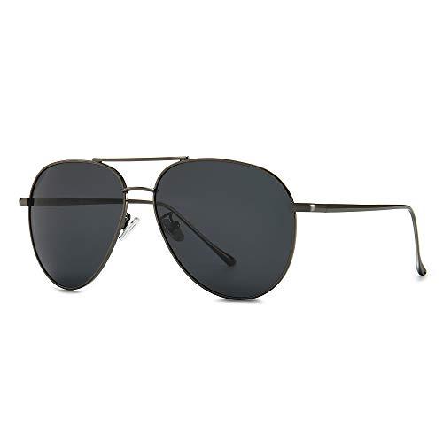 SUNGAIT Gran Tamaño Aviator Gafas de Sol Ligeras para Mujer con Lente Polarizada Espejada (Montura de Bronce / Lente Gris)