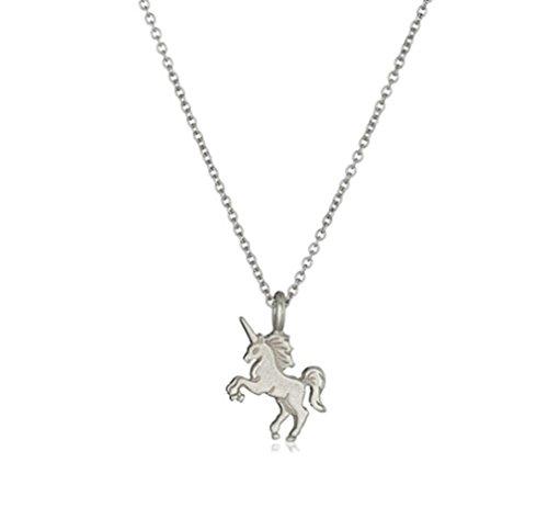 HENGSONG Elegante Legierung Einhorn Halskette Anhänger Kette für Damen Mädchen Schmuck Geschenk, Silber Farbe