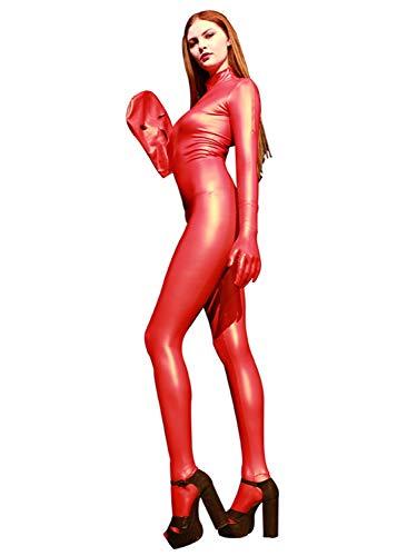 no-branded Wome's Latex-Latex-Latex-Latex-Einstiegs-Ganzanzug mit tiefem Schritt Reißverschluss Unitard Bodycon Clubwear-Body mit Kapuze und Händen LCZCZL (Color : Schwarz, Size : M)