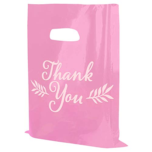 "Houseables Thank You Merchandise Bags, Retail Shopping Goodie Bag, Plastic, 16"" x 18"", 100 Pk, 1.75 Mil Thick, Low Density, Glossy, with Handles, for Stores, Boutiques, Clothes"