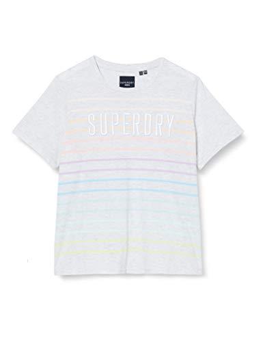 Superdry Damen SB Rainbow Entry Tee T-Shirt, Weiß (Ice Marl Stripe HUI), L (Herstellergröße:14)