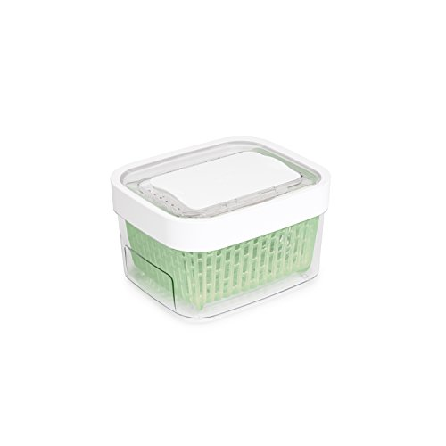 OXO Good Grips, Tupper hermético de cristal GreenSaver para conservar los alimentos, tamaño pequeño, 1,5 litros, color blanco