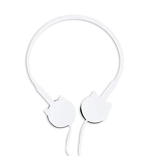 MROSW Head Mounted Kopfhörer Für Beauty Blogger, Cartoon Nette Katze Mit Mikrofon-Kopfhörer,Weiß