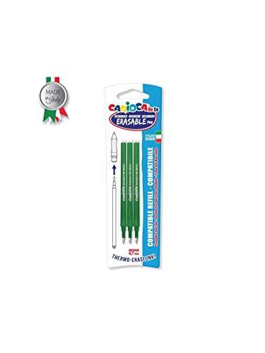 Carioca Re-do - Pack de 3 recambios para bolígrafo, color verde