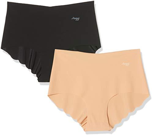 Sloggi Zero Microfibre Short C2p Slip, Multicolore (Skin Dark Combination M002), S (Pacco da 2) Donna