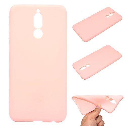 LeviDo Coque Compatible pour Huawei Mate 10 Lite Étui Silicone Souple Bumper Antichoc TPU Gel Ultra Fine Mince Caoutchouc Bonbons Couleurs Design Etui Cover, Rose