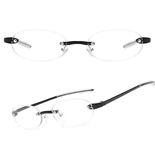 JIMMY ORANGE 老眼鏡 軽い おしゃれ ブルーライトカット リムレス 縁なし メンズ レディース 携帯用 軽量 リーディンググラス ブラック 度数+100 JO621