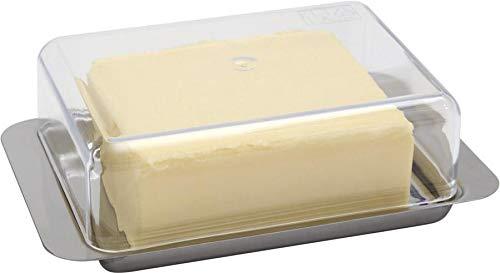 APS Kühlschrank-Butterdose – hochwertiger Edelstahl Butter Behälter Made in Germany – langlebig und Nicht rostend 16 x 9,5 x 5,5cm, Nicht spülmaschinenfest