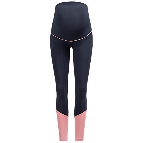 Herzmutter Leggings Deportivos para el Embarazo – Pantalones de Yoga para Embarazadas – Activo-Leggings Premamá para Deporte – Pantalón Deportivo para Maternidad - 8300 (Azul, M)
