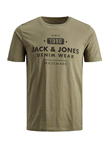 JACK & JONES NOS Jjejeans Tee SS Crew Neck Noos T-Shirt, Verde Scuro, M Uomo