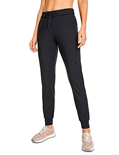 CRZ YOGA Women's Stretch Joggers Sweatpants Drawstring Fitted Cuffed Ankle Athletic Travel Yoga Pants Black Small
