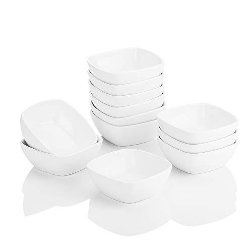 MALACASA Série Ramekin Dish, 12pcs Ramequin Moule à Soufflé Bol Dessert Porcelaine 4'/10 * 10 * 3.5cm