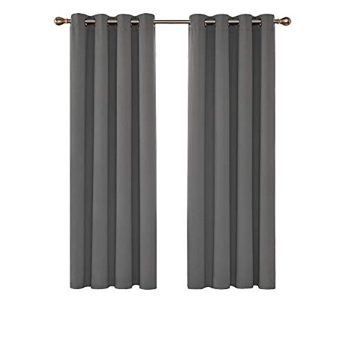 Deconovo Blackout Curtains Fabric Thermal Insulated Eyelet Curtains Room Darkening Curtains Ring Top Curtains for Bedroom 52'x 63' Light Grey 1 PAIR
