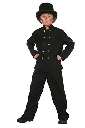 The Fantasy Tailors Disfraz de deshollinador para niños, Color Negro, Parte Superior y pantalón (sin Sombrero), Carnaval,, Color Negro, tamaños