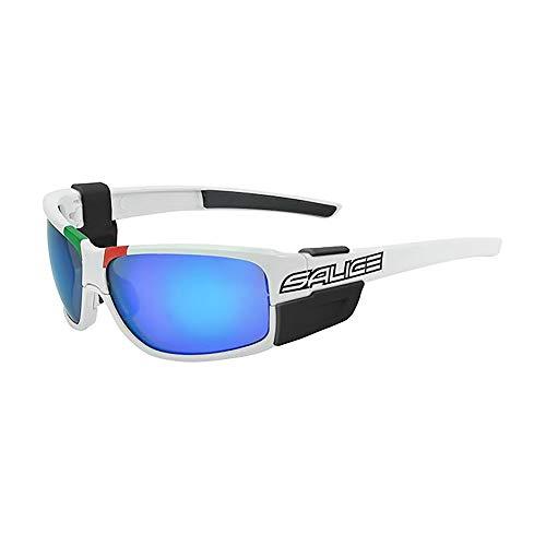 Salice Unisex-Brille für Erwachsene, weiß/RW Blue Mirror Cat. Clear Lenses, einzigartig