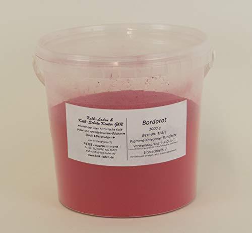 Buntfarbe Bordorot 1kg im Eimer, Pigment, Trockenfarbe