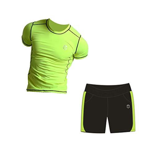 Fluorescerende groene fitness pak heren zomer sneldrogende panty sport hardlopen kleding Gym sport pak korte mouwen trainingspak