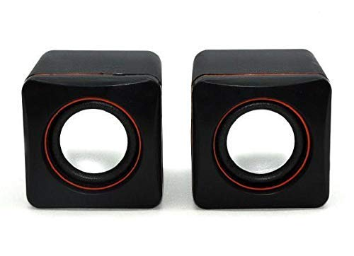 Eatech DC 5V Powered Mini Portable Audio Speakers Stereo Sound with USB Port & 3.5 mm Jack for Computer Laptop Desktop PC MP3 Multimedia Music Player (Black)